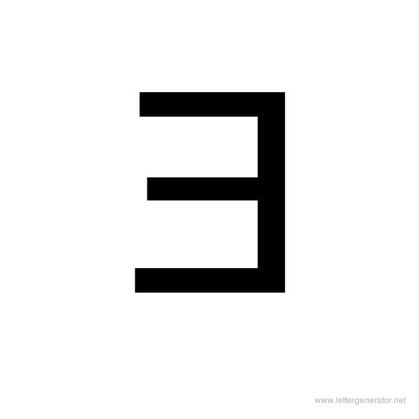 Backwards Font Alphabet E