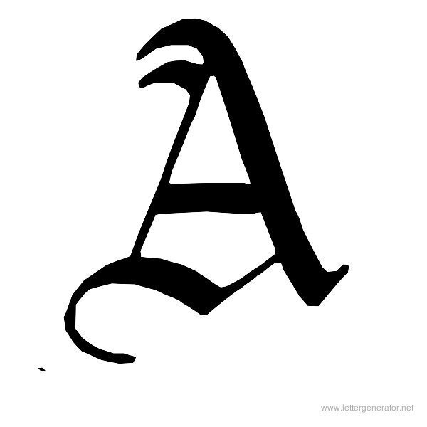 English Gothic Font Alphabet A