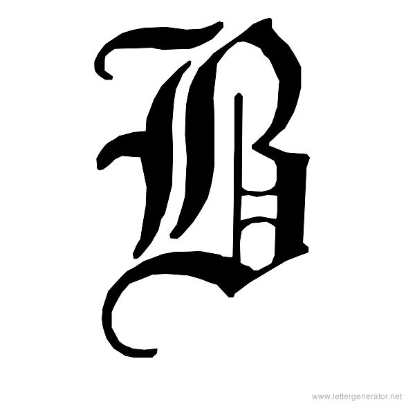 English Gothic Font Alphabet B
