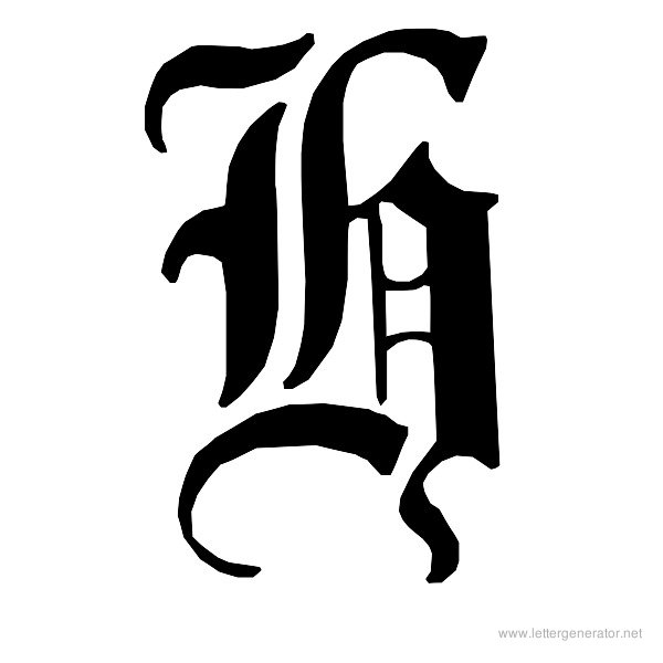 English Gothic Font Alphabet H