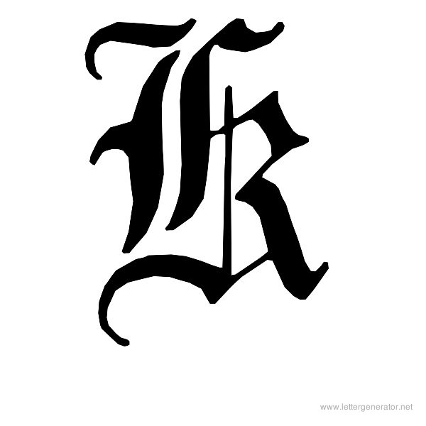 English Gothic Font Alphabet K