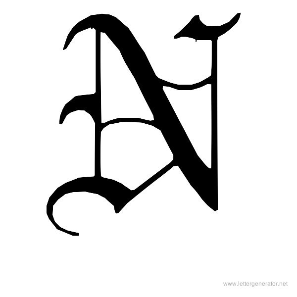 English Gothic Font Alphabet N
