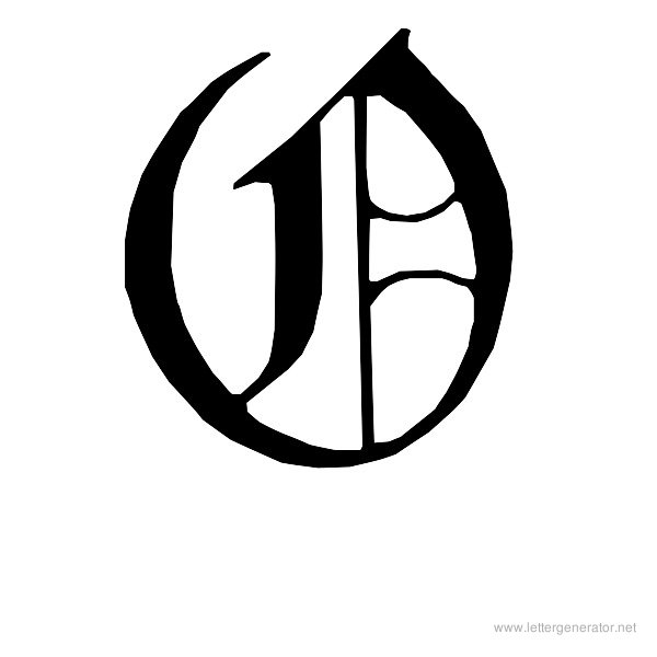 English Gothic Font Alphabet O
