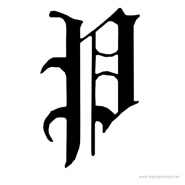 English Gothic Font Alphabet P