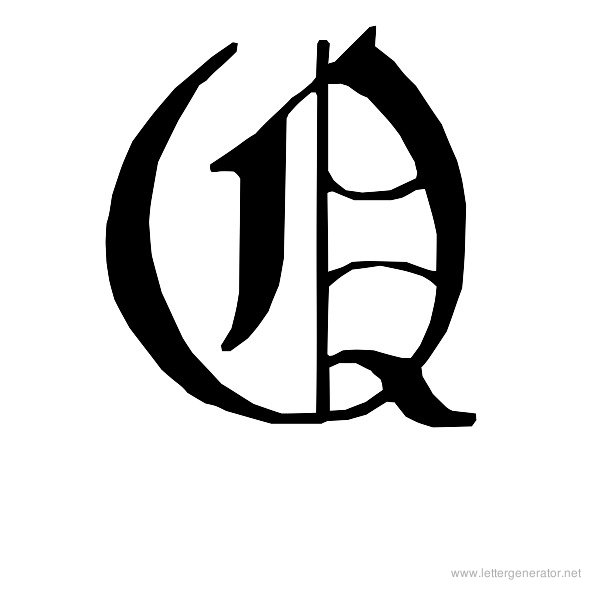 English Gothic Font Alphabet Q