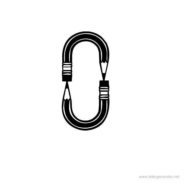 Pencilled Font Alphabet O