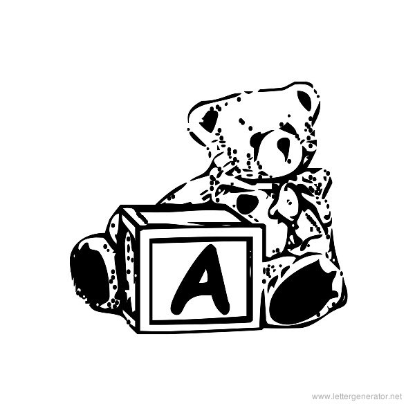 Summer's Bear Blocks Font Alphabet A