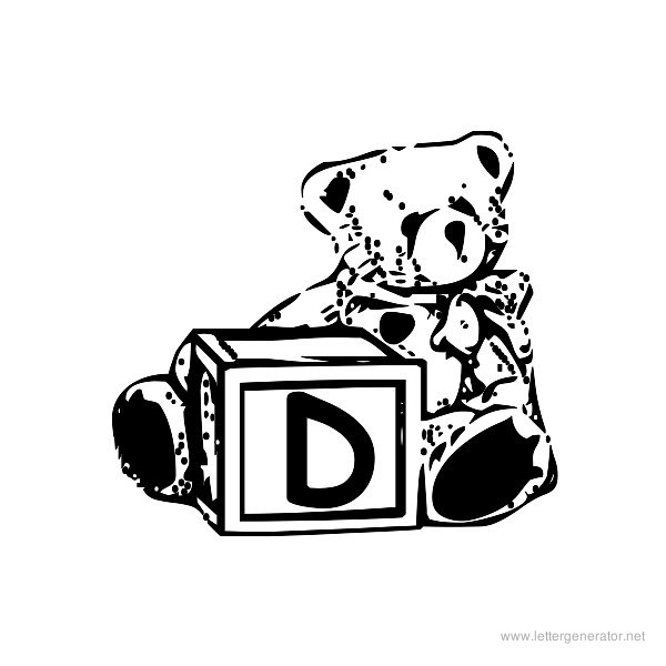 Summer's Bear Blocks Font Alphabet D