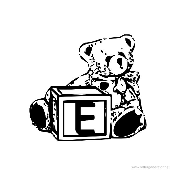 Summer's Bear Blocks Font Alphabet E