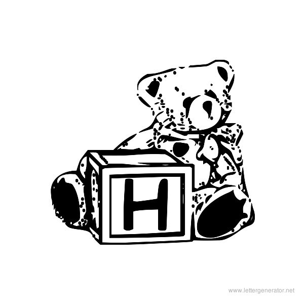 Summer's Bear Blocks Font Alphabet H