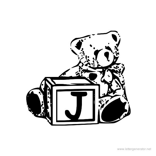 Summer's Bear Blocks Font Alphabet J