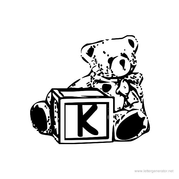 Summer's Bear Blocks Font Alphabet K