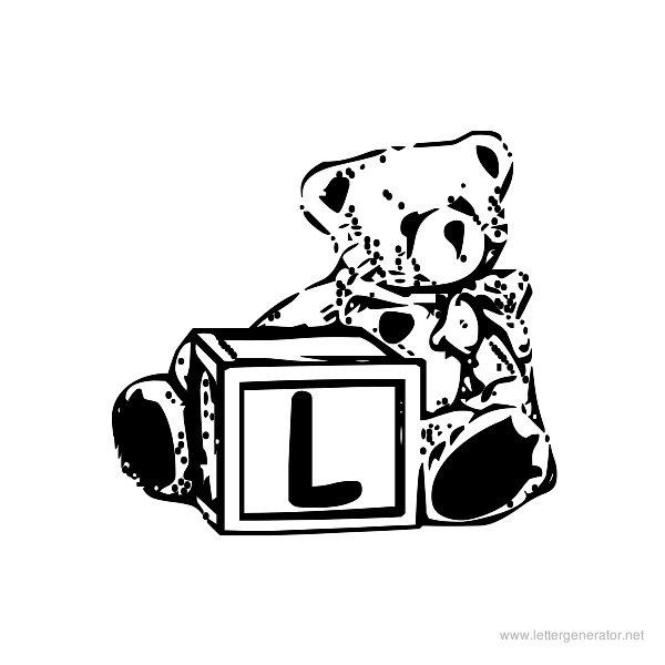 Summer's Bear Blocks Font Alphabet L