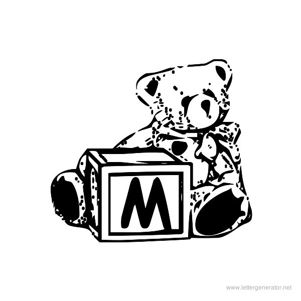 Summer's Bear Blocks Font Alphabet M