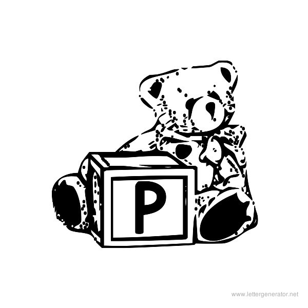 Summer's Bear Blocks Font Alphabet P