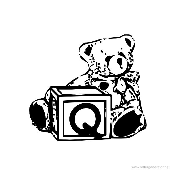Summer's Bear Blocks Font Alphabet Q