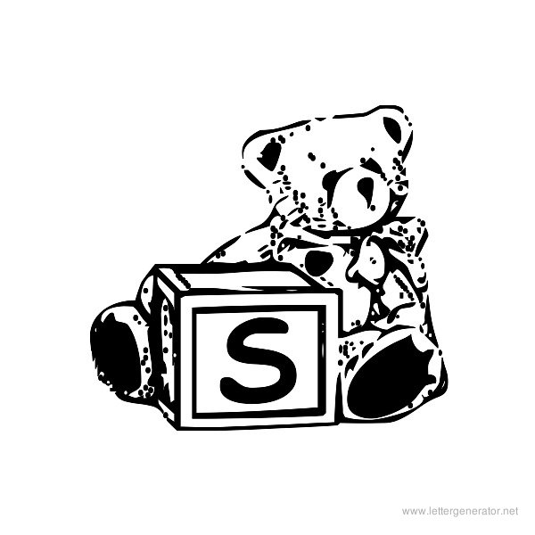 Summer's Bear Blocks Font Alphabet S
