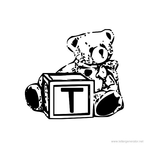 Summer's Bear Blocks Font Alphabet T