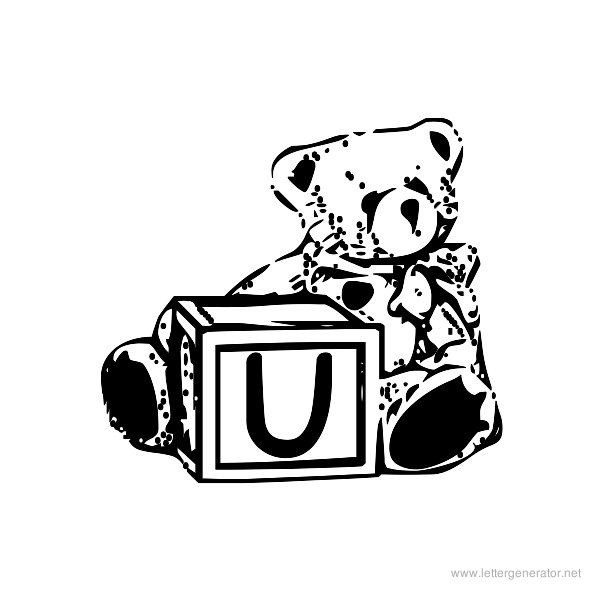 Summer's Bear Blocks Font Alphabet U