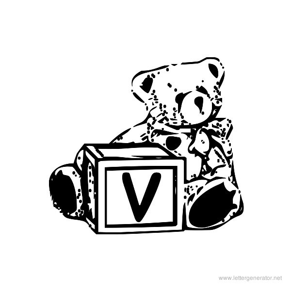 Summer's Bear Blocks Font Alphabet V