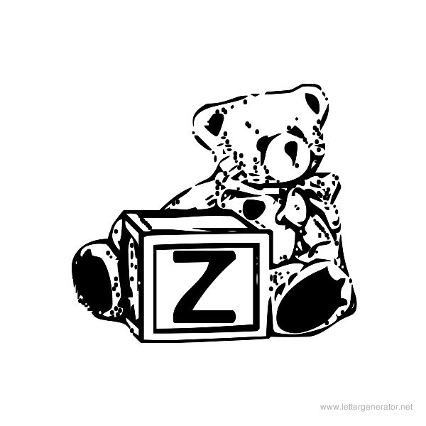 Summer's Bear Blocks Font Alphabet Z