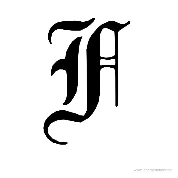 English Gothic Font Alphabet F