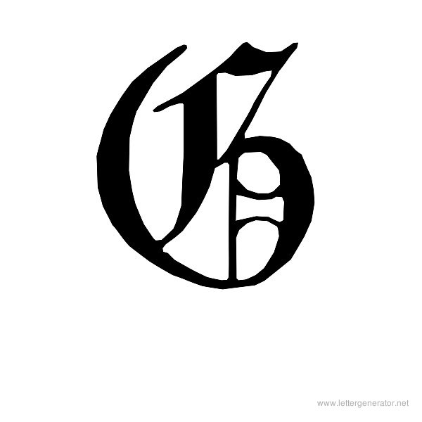 English Gothic Font Alphabet G
