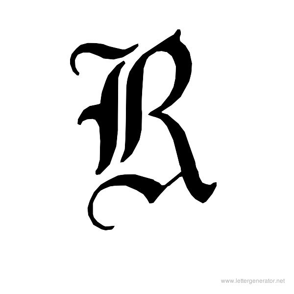 English Gothic Font Alphabet R