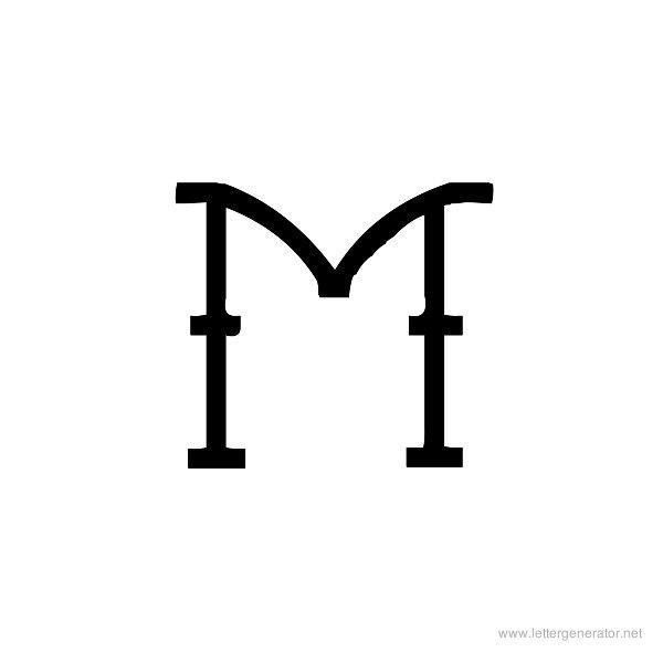 Tattoo Font Alphabet M