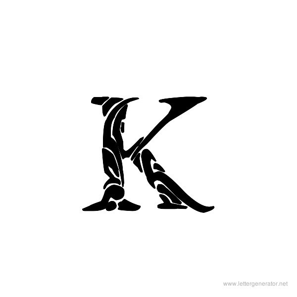Tribal Garamond Font Alphabet K