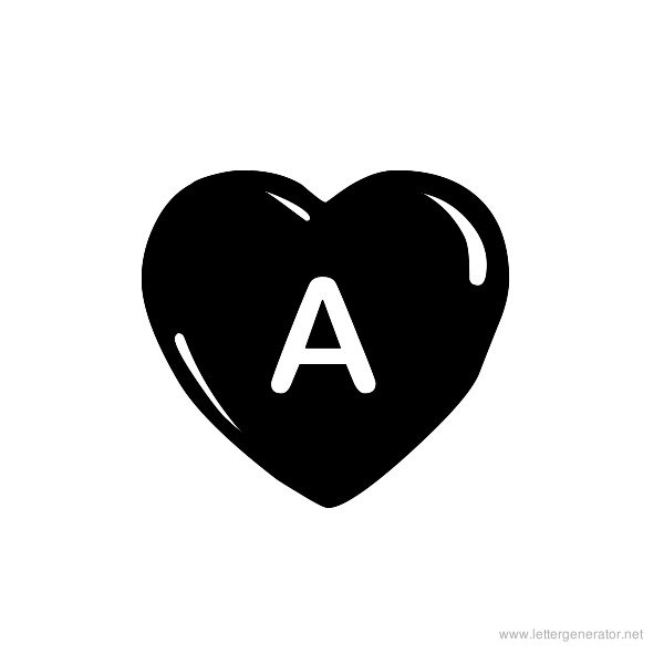 JLR Simple Hearts Font Alphabet A