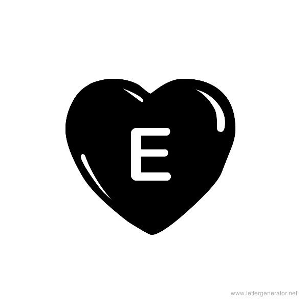 JLR Simple Hearts Font Alphabet E