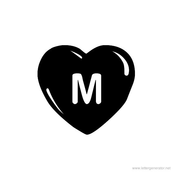 JLR Simple Hearts Font Alphabet M