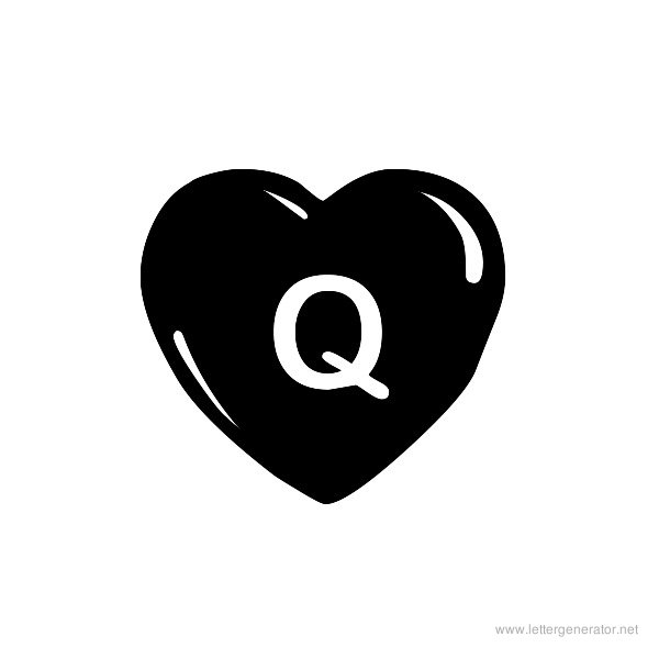 JLR Simple Hearts Font Alphabet Q