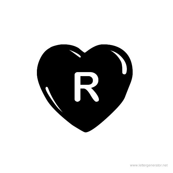 JLR Simple Hearts Font Alphabet R