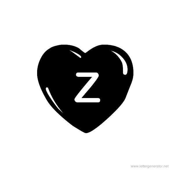 JLR Simple Hearts Font Alphabet Z