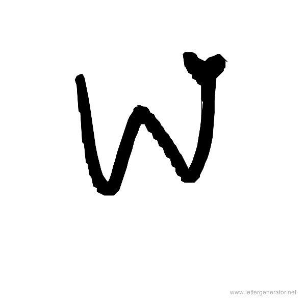 Love Letters Font Alphabet W